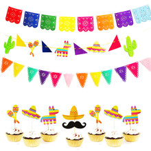 Mexican Party Decoration LLama Birthday Cake Topper Alpaca Cactus Hat Banner Baby Shower Supplies