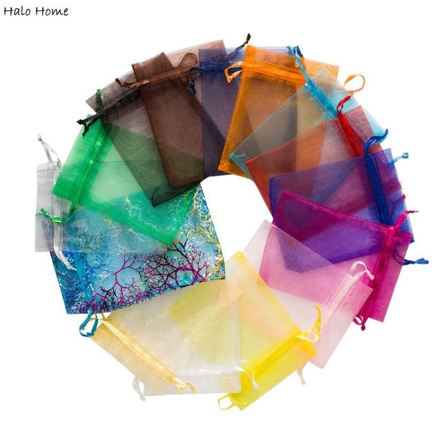 Pochettes de rangement pour bijoux 16 couleurs ou 4 tailles   Pochettes de rangement en ORGANZA de qualité supérieure, sélection de 10 pièces, sacs cadeaux pour mariage