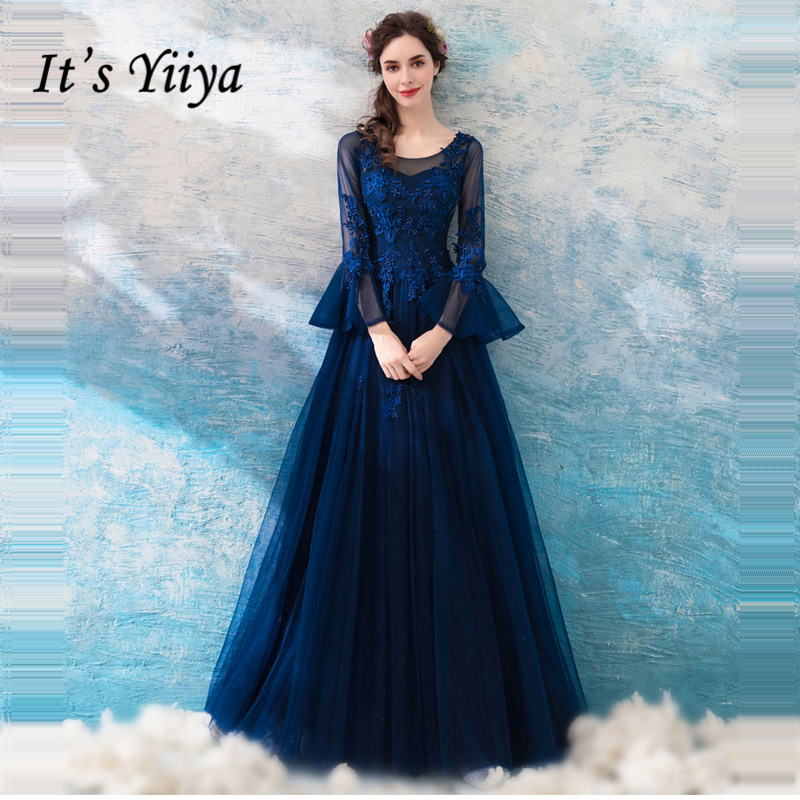 It's Yiiya O-Neck Deep Blue Elegant Luxury   Evening     Dresses   Famous Beading Designer Party Formal   Dress   LX223