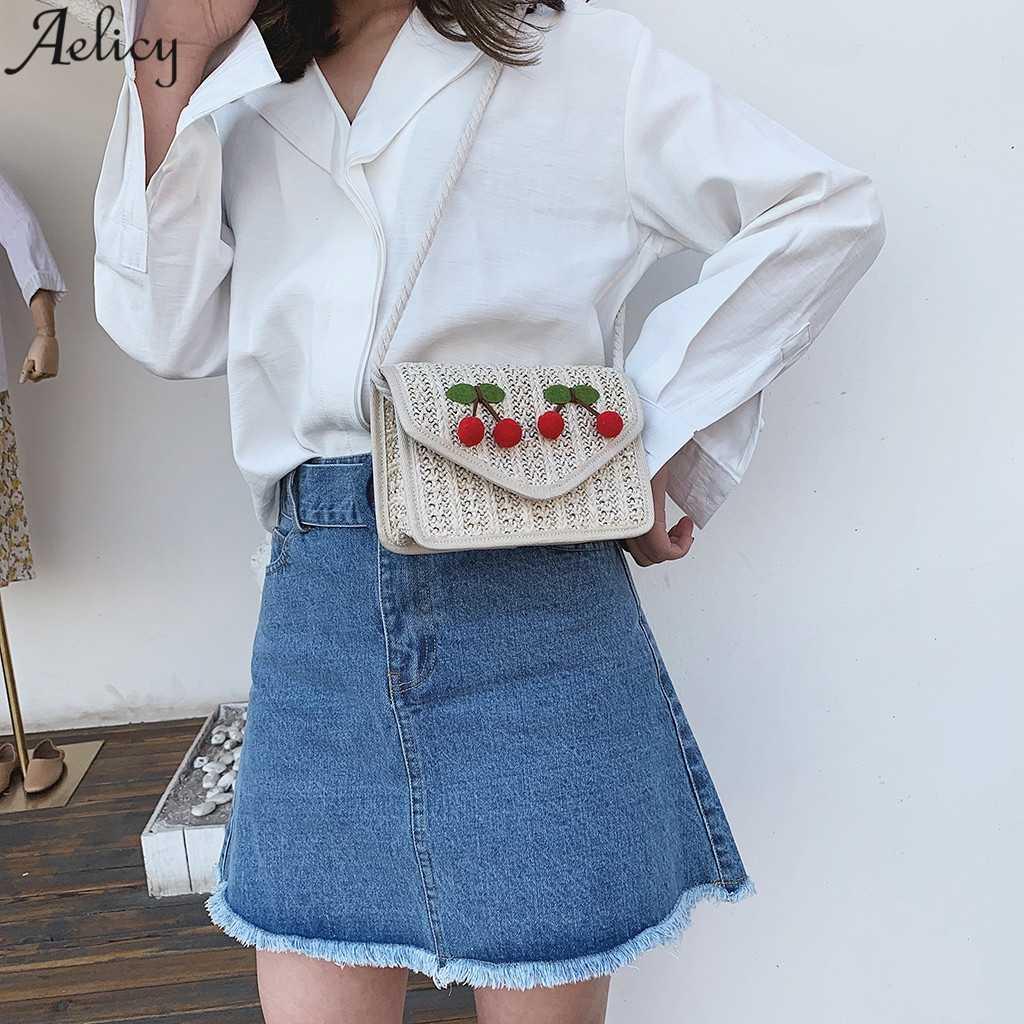 Aelicy das Mulheres Retro Saco Do Mensageiro Saco de Palha Cereja Apliques de Moda Versátil Estilo Simples Tampa Crossbody Bag Hot Sales Branco Novo