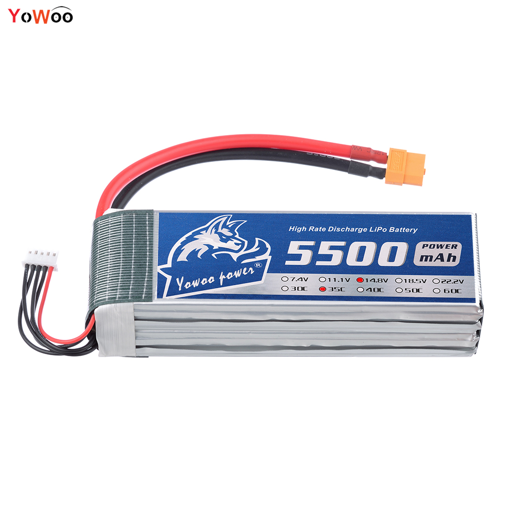 YOWOO 14.8V RC Lipo 4s Bateria 5500mah Recharge 35c Max 70C Drone AKKU For Airplane Car Helicopter Quadcopter UAV FPV wild scorpion rc 18 5v 5500mah 35c li polymer lipo battery helicopter free shipping