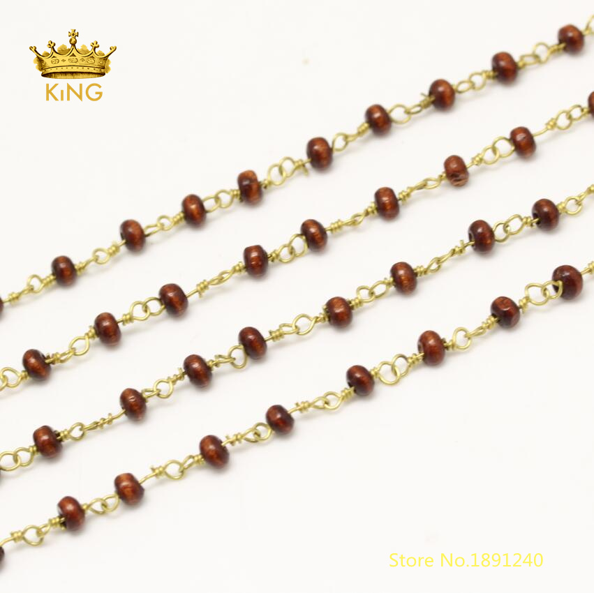 5meters Wooden Beads Crafts Chains Findings,Dark Brown Color Rondelle Wood Beads Wire Wrapped Rosary Style Chains 3x4mm ZJ174
