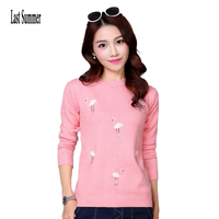 Free Shipping New Fashion 2016 Autumn Winter For Womens Cashmere Sweaters Loose Warm Knitted Sweet Chrismas