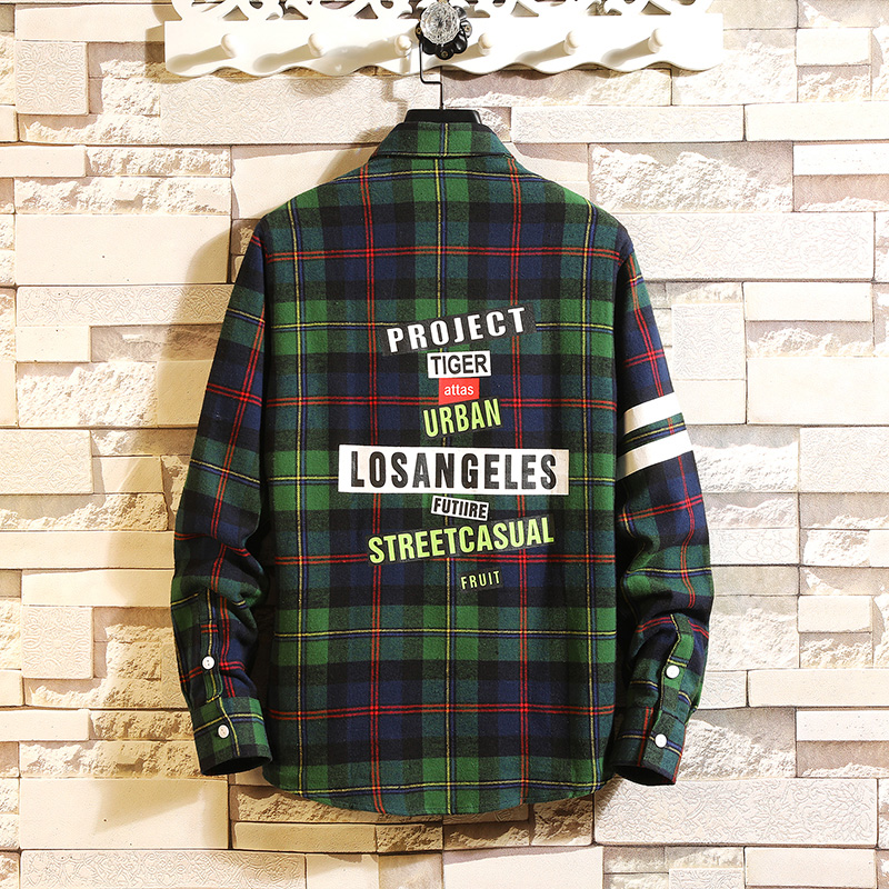 Checker shirt, long sleeve Korean version spring fashion workwear, handsome casual shirt, jacket, Hong Kong style shirt 28