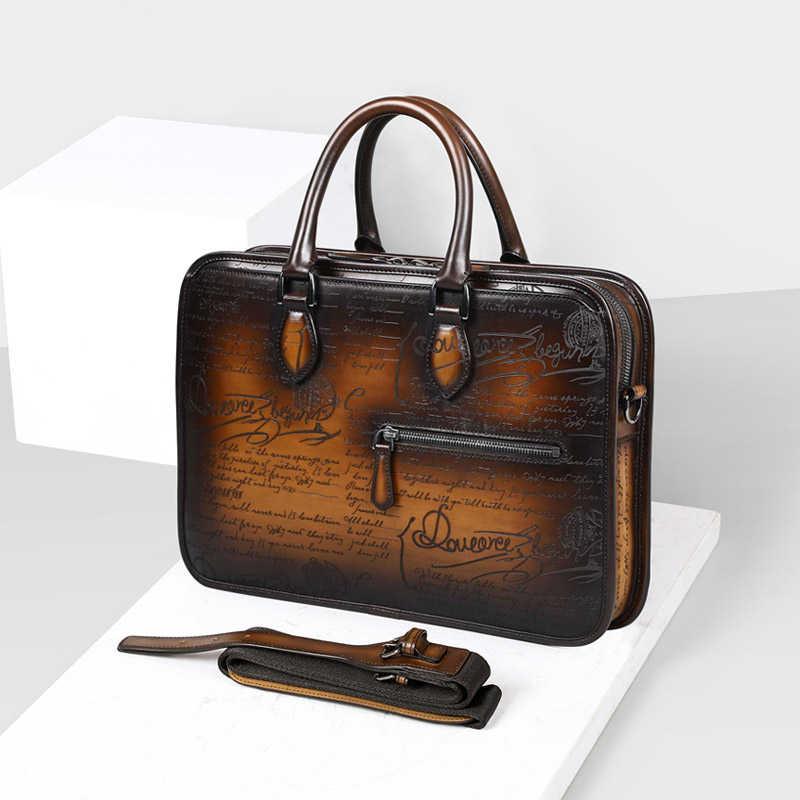 831a4ffea87 Men's Business Briefcase Genuine Leather Luxury Handmade Calfskin Shoulder  Bag Italian Designer Document File Laptop Bag