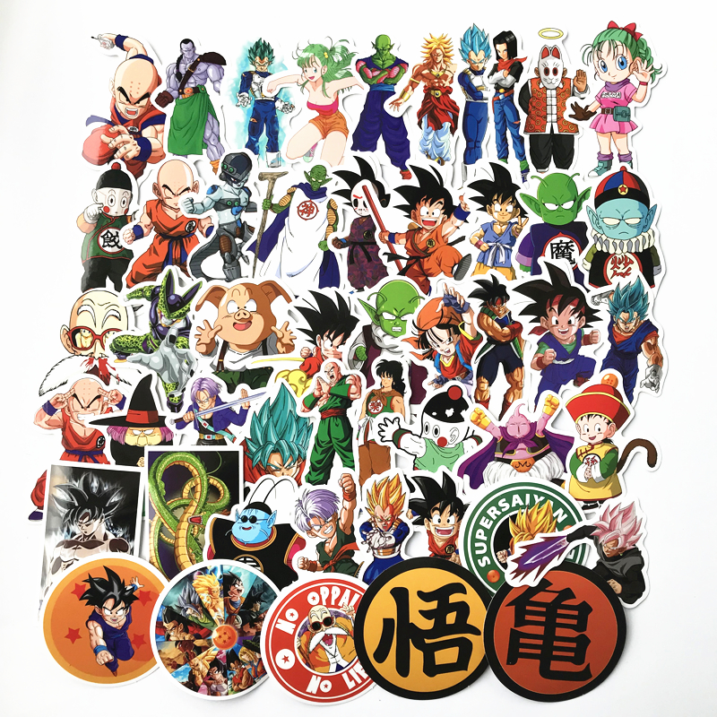 50pcs/lot Anime Dragon Ball Stickers Super Saiyan Goku Stickers Decal For Snowboard Luggage Car Fridge Laptop Sticker