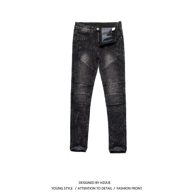 HZIJUE Mens Skinny jeans men 2017 Runway Distressed slim elastic jeans denim Biker jeans hip hop pants Washed blue white jeans men s skinny slim denim washed hip hop jeans vintage ripped biker classic slim pants relaxed fit bootcut jeans mens