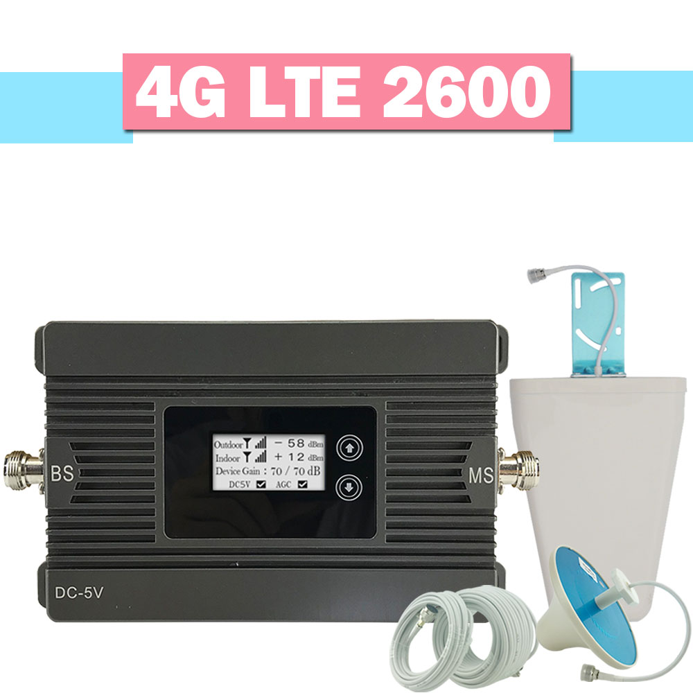 Walokcon 4G LTE 2600mhz Mobile Phone Signal Repeater Band 7 4G LTE Cellular Signal Repeater 80dB Gain LCD Display 4G Amplifier