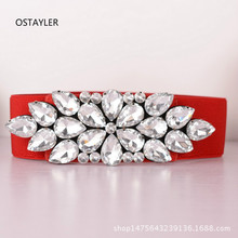 Brand Luxury Crystal Rhinestone Waist Belts WOmen Red Blue G
