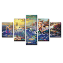 Top Wall Deocr Canvas Painting 5 Pcs Movie mermaid poster Modern Printed Oil Pictures Living Room Frame or No