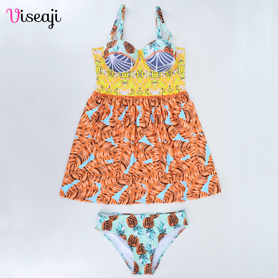 Swimsuit Women Swimwear Print Bikini 2018 Sexy Brazilian Bikinis Set Skirt-Style Bathing Suits Swim Push Up Beach Wear Biquini все цены