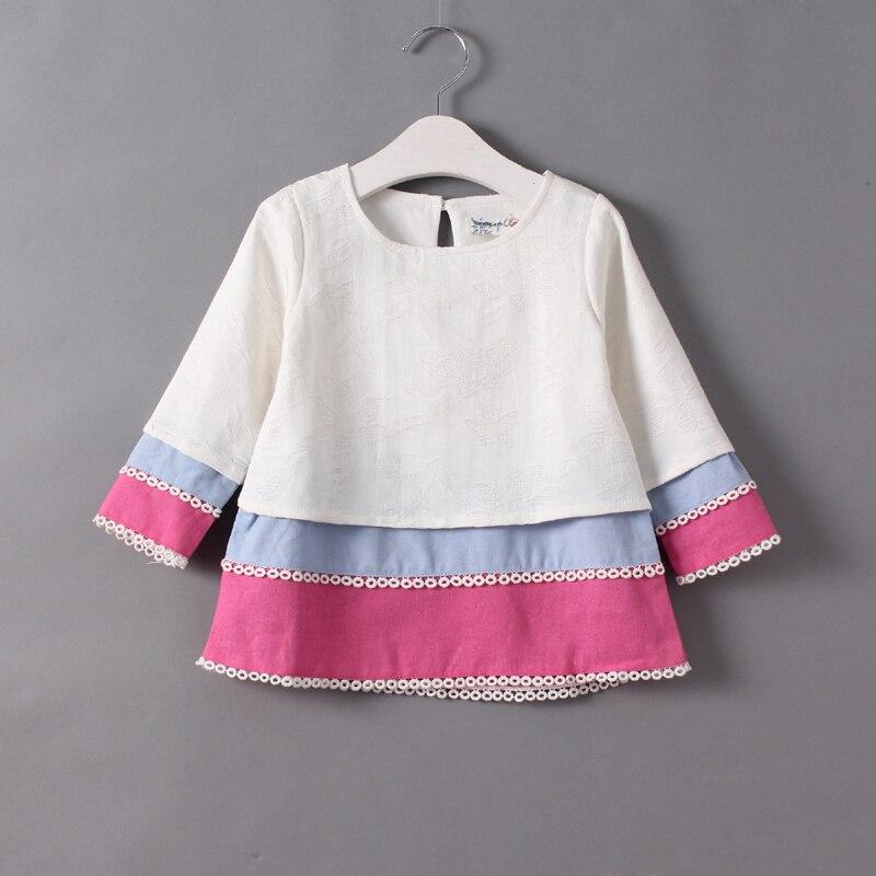 Baby girls autumn shirt dress kids fall long sleeve blouse