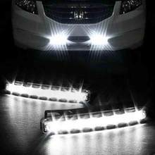 Wind Powered 8 LED Car DRL Daytime Running Light Fog Warning Auto Head Lamp(China)