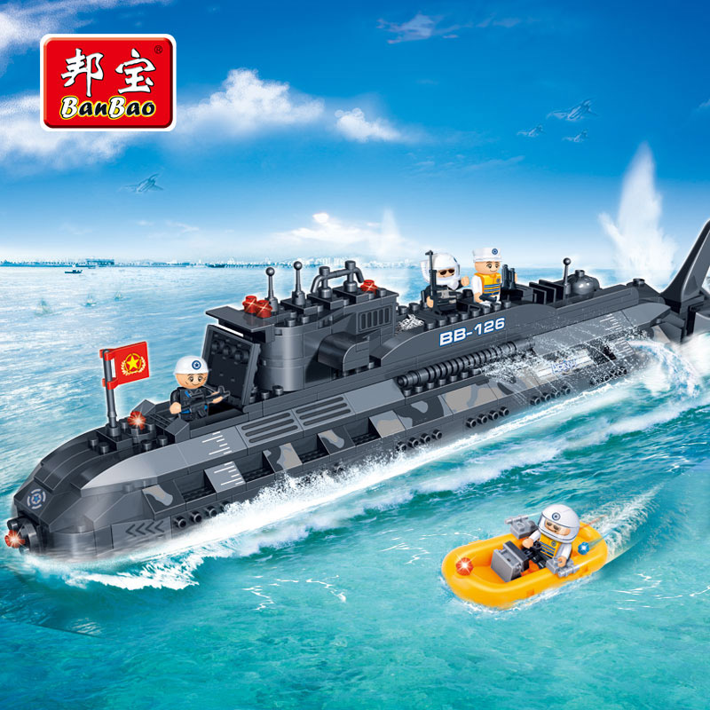 BanBao military education building blocks toys children gifts warships submarines weapons compatible legoe lego education 9689 простые механизмы