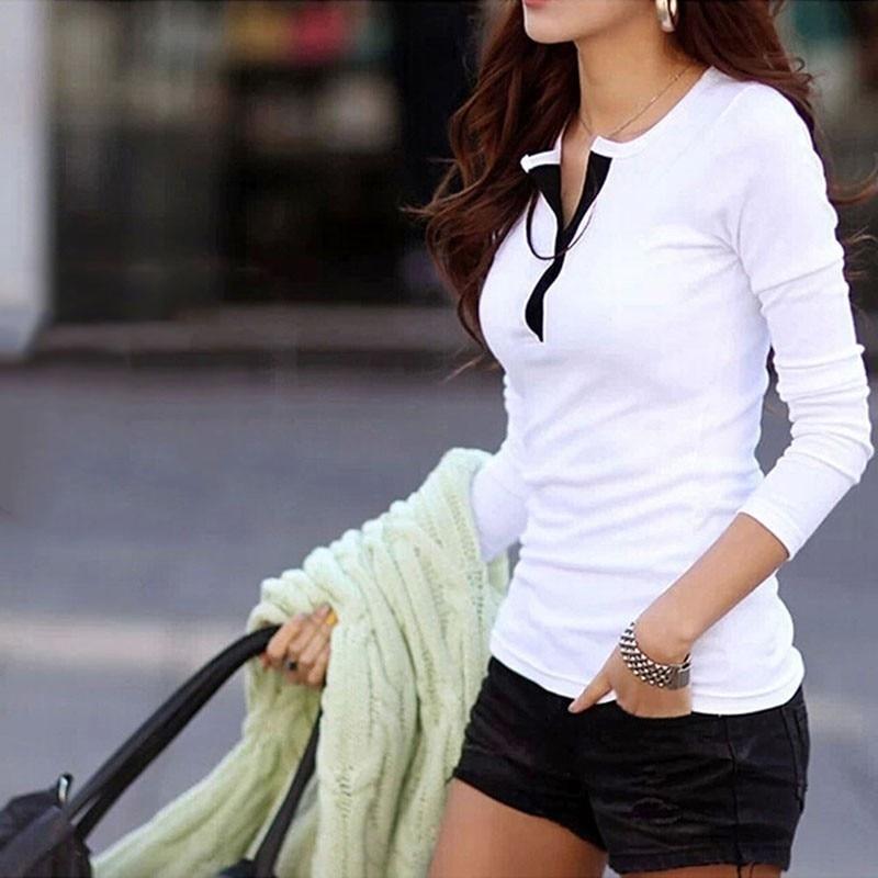 HTB1M8P4xfiSBuNkSnhJq6zDcpXah - New Spring Autumn Women T-shirts Clothing Slim Long sleeve shirt Cotton