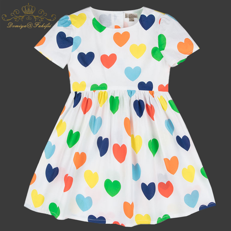 Girls Summer Dress Baby Clothing 2018 Brand Kids Moana Dresses for Girl Clothes Heart Print Robe Enfant Children Dress Princess baby cherry print dress summer girls kids children skirt