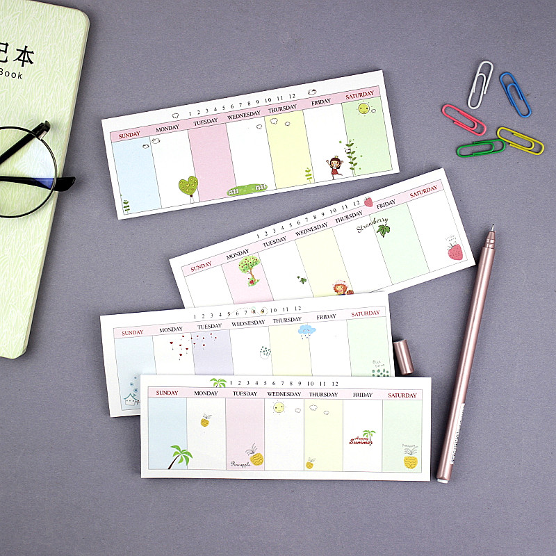 Kawaii Cute Weekly Plan Paper Scrapbooking Stickers Sticky Note Stationery School Supplies Memo Pad Papelaria Notebook Post it 200 sheets 2 boxes 2 sets vintage kraft paper cards notes filofax memo pads office supplies school office stationery papelaria