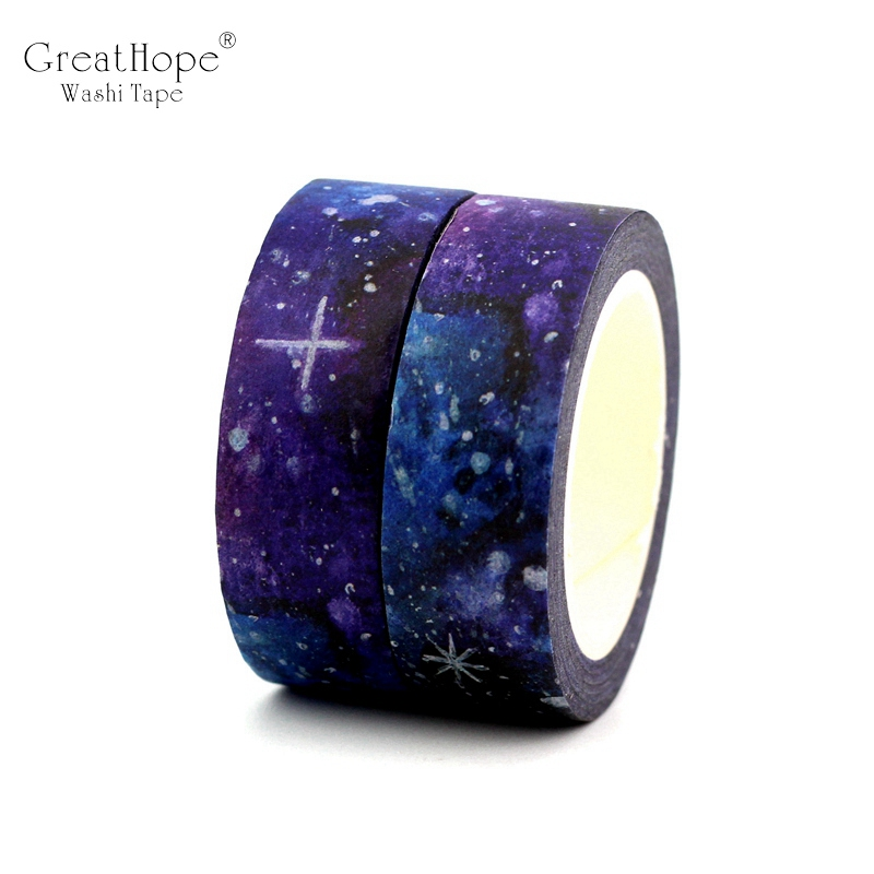 2PCS/lot NEW! Creative Dream Starry Sky Decor Washi Tape Paper DIY Scrapbooking Adhesive Tape 1.5cm*10m School Office Supply