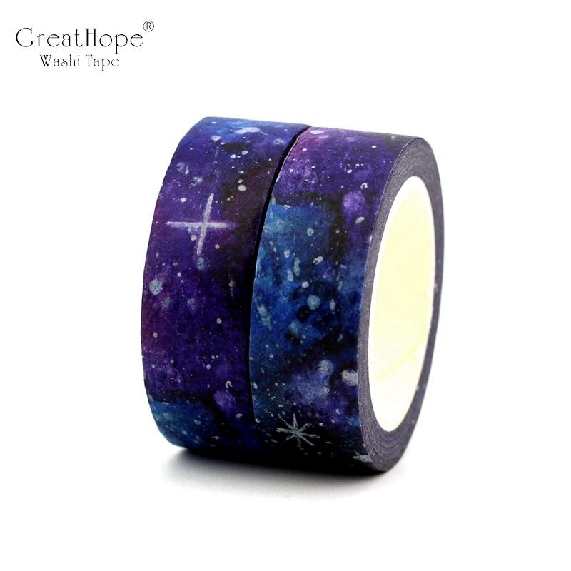 2PCS/lot NEW! Creative Dream Starry Sky Decor Washi Tape Paper DIY Scrapbooking Adhesive Tape 1.5cm*10m School Office Supply