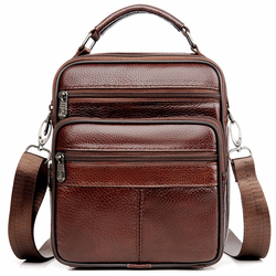 JackKevin Genuine Leather Men Handbag Shoulder Bag Hot Sale Cow Leather Bag Vintage Casual Style Flap Bags Men's Crossbody Bag