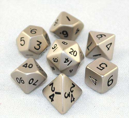 7pcs/bag Creative Multi-faceted D&D Dice Set d10 d% d20 d8 Metal Dice Playing Dungeons & Dragons Colored DND Polyhedral Dice Set