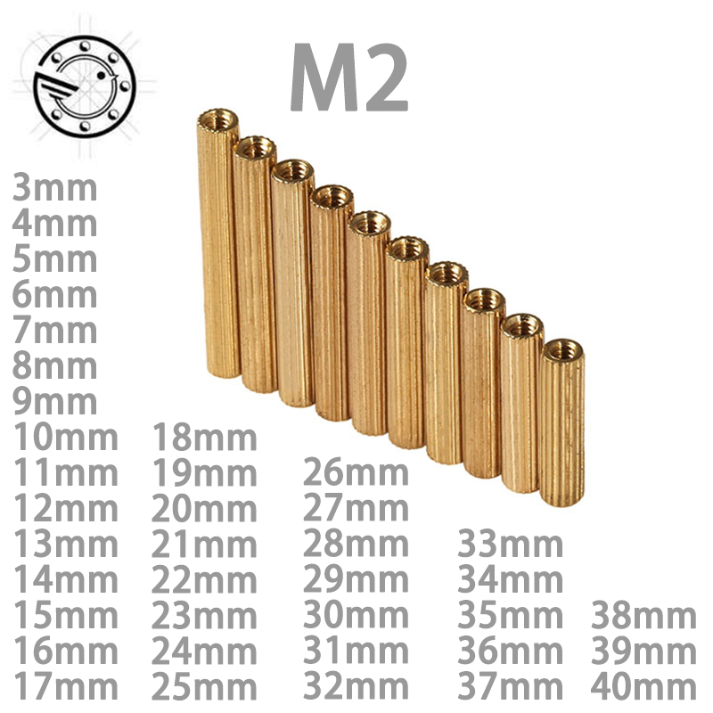 50Pcs M2 Copper Standoff Screw Spacer Circular Double-pass Pillars Security Surveillance Cameras Spacing Screws