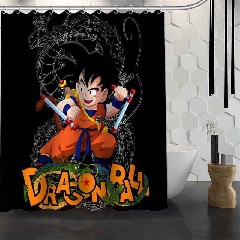 Best Custom Waterproof Bathroom Dragon Ball Z Shower Curtain Polyester Fabric 165X180cm180X200cm P