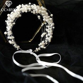 CC boda joyería diademas diadema corona perla compromiso accesorios para el cabello para novia damas de honor Vintage Estilo Dulce M073