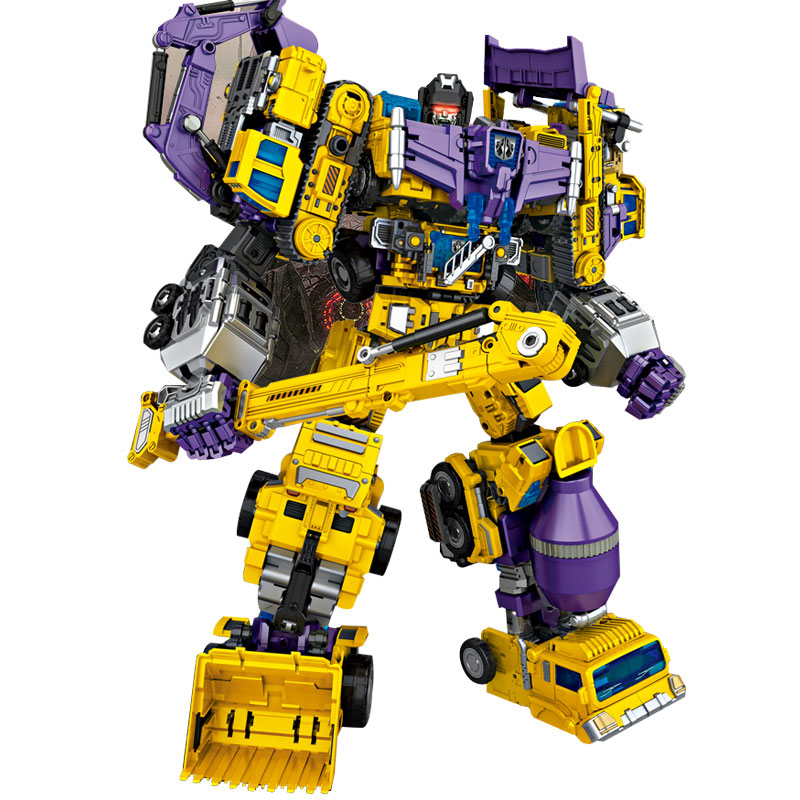 Transformation Toys Oversize 6 in 1 NBK GT Devastator KO boy Cool Bulldozer Gravity Hook Green Yellow Action Figure kid Toy gift цена