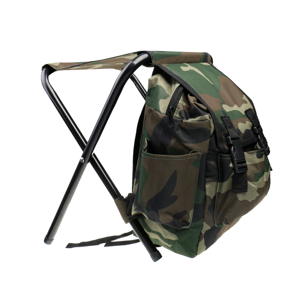 1PCS Hunting Fishing Tackle Oxford Backpack Bag Foldable Stool Seat Chair Camo for Hiking Travel Camping Equipment Accessories seat oxford cloth lightweight 3 in 1 outdoor portable multifunctional foldable cooler bag chair backpack fishing stool chair
