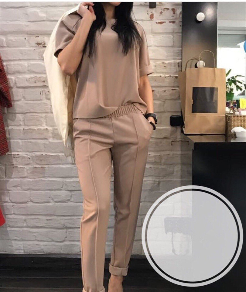 Fashion casual suit 2018 summer wear short sleeved jacket, western style, Nine minutes of pants, two sets of small pants 1