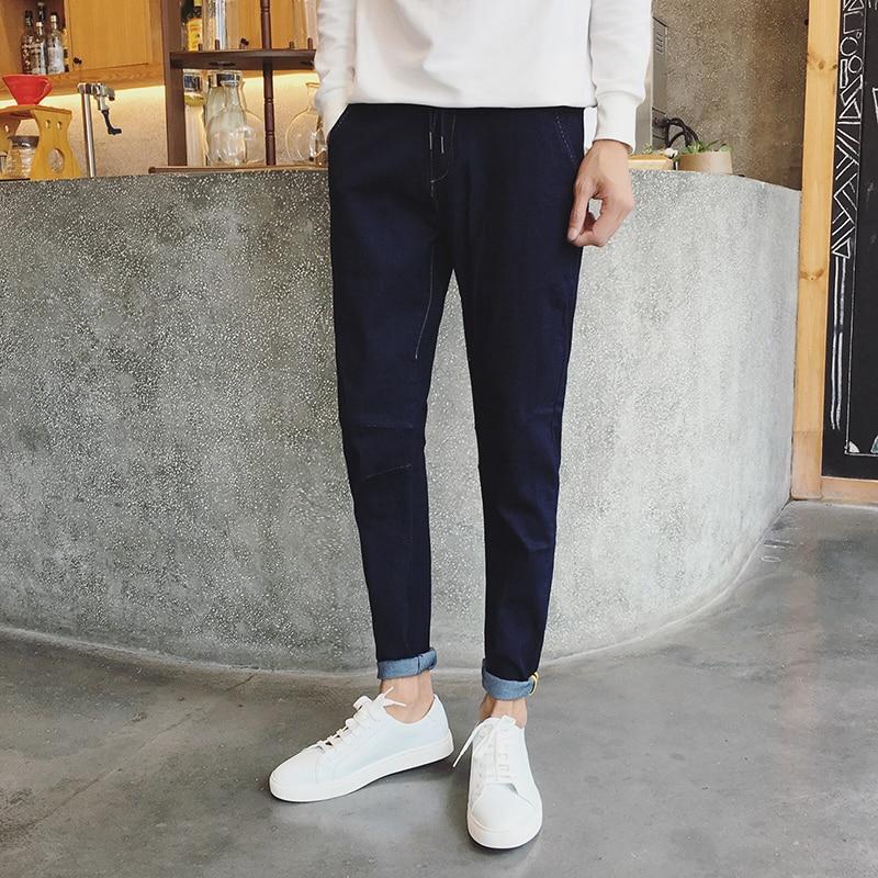Men denim pencil pant feet jeans solid color fashion casual jeans male elastic waist denim trousers