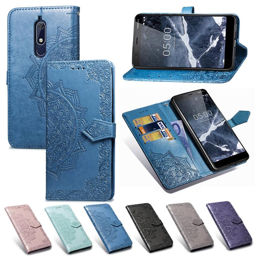 Luxury Leather Flip Case for NOKIA 5.1 NOKIA 5.1 plus Wallet Phone Bag Coque Screen Protector for NOKIA 5.1 Nokia 5.1 plus Film