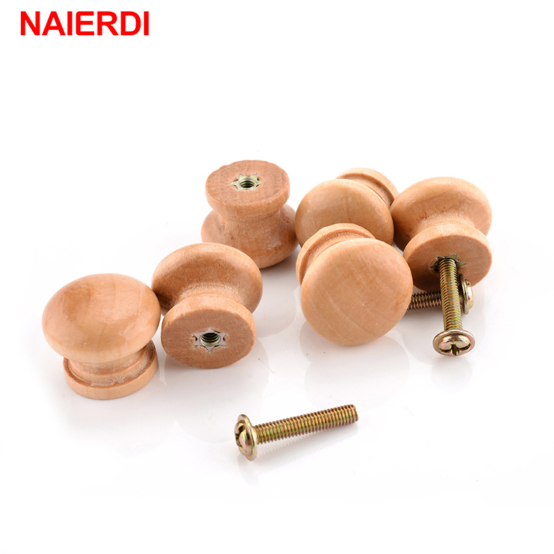 Naierdi 10pcs Pack 2 5x2cm Size Natural Wooden Cabinet Drawer Wardrobe Door Knob Pull Handle