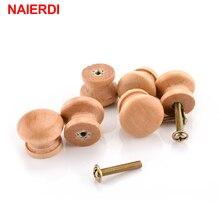 Manijas NAIERDI de 10 Uds., tiradores de armario de madera Natural de 2,5x2 cm, tiradores de armario, tirador de puerta, mango de cocina, herrajes para muebles