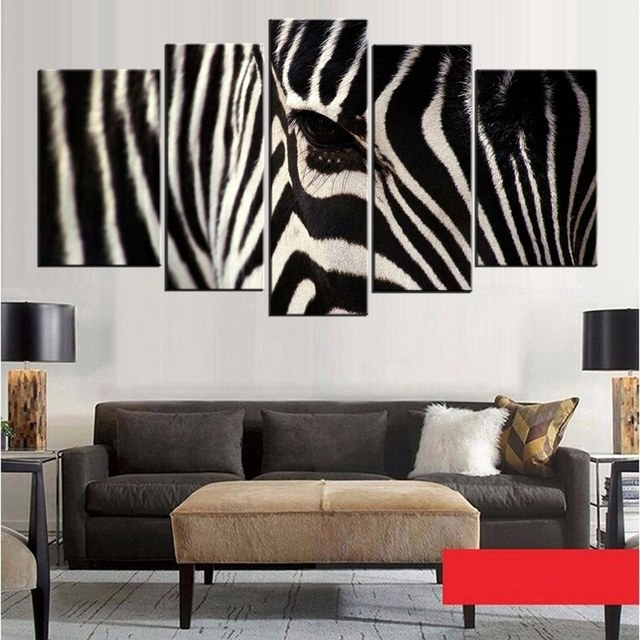 Black white 5 panel wall art painting zebra face picture prints on canvas animal canvas