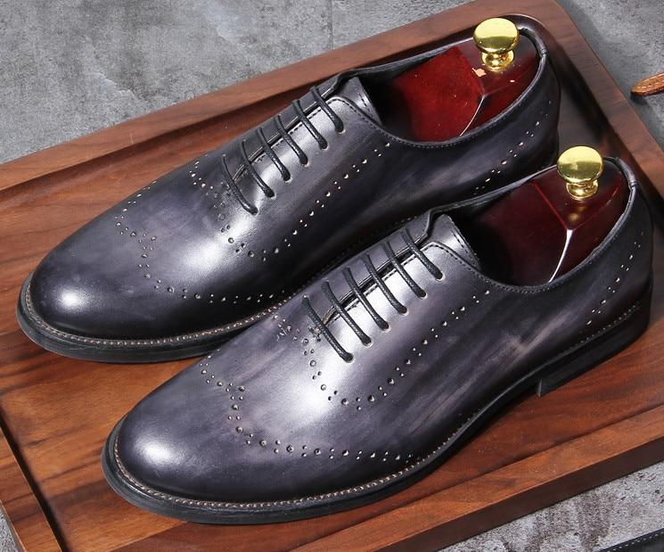 Hasta As Trabajo Estilo as Tallada Inglaterra Vestir Hombres Ronda Zapatos Encaje Retro De Genuino Oficina Pic Toes Juventud Clásica Negocios Cuero Pic 0xUCaqw
