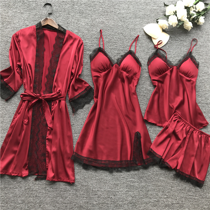 Robe & Gown Set Women Sleepwear 4 Pieces Nightdress + Sling Long Sleeve Pants Home Service Female Home Clothes Loungewear