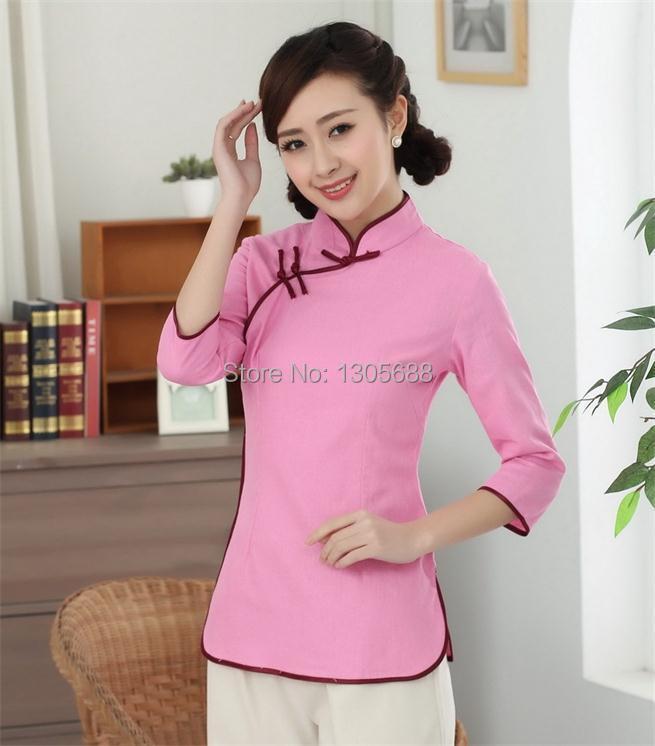 Nueva moda mujeres chinas de lino Tops camisa cuello mao