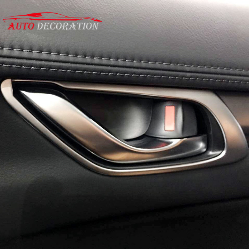 Matte / Chrome Car styling Interior Accessories Door Handle Bowl Decoration Cover 4pcs For Mazda CX-5 CX5 2nd Gen 2017 2018 for mazda cx 5 cx5 2017 2018 kf 2nd gen car co pilot copilot stroage glove box handle frame cover stickers car styling