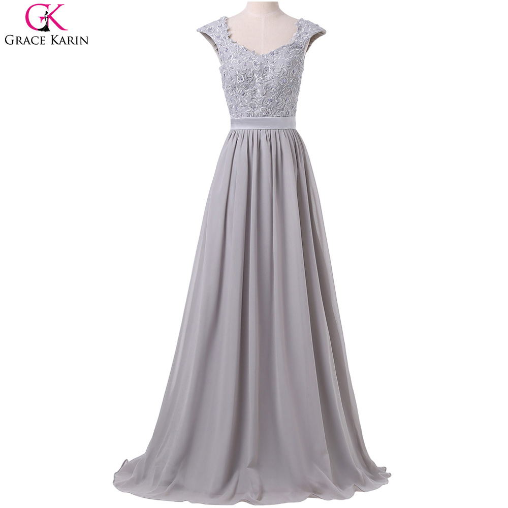 Bridesmaid dresses grace karin sleeveless lace chiffon for Elegant wedding party dresses