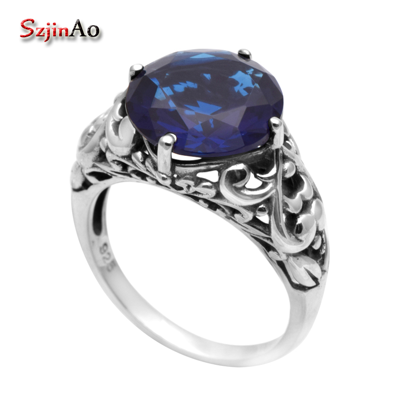 Szjinao Promotion Vintage Blue  Sapphire Jewellery Victoria Antique Jewelry Wedding Ring 925 Sterling Silver Rings for WomenSzjinao Promotion Vintage Blue  Sapphire Jewellery Victoria Antique Jewelry Wedding Ring 925 Sterling Silver Rings for Women
