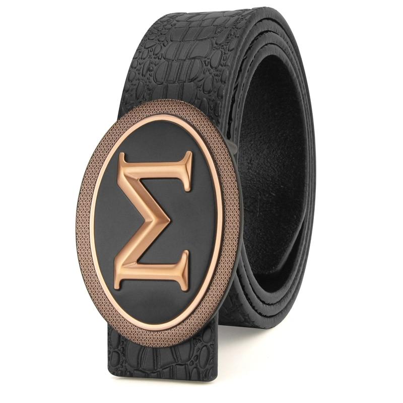 K Big M letter buckle belts designer belts genuine leather Luxo Crocodile fancy vintage jeans male Waistband Cowskin Casual sash