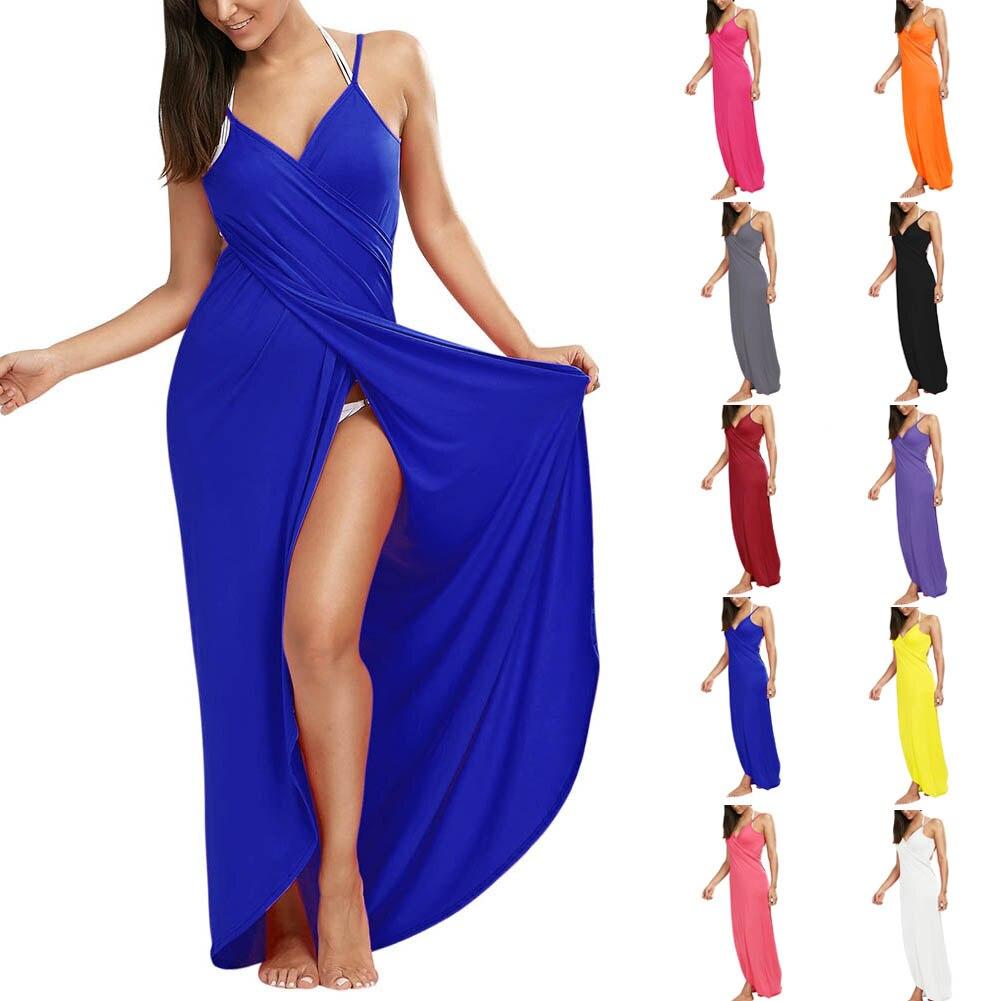 Sexy Women Bikini Robe Candy Color Summer Beach Long Dress Tunic Sarong Bathing Dresses FS99