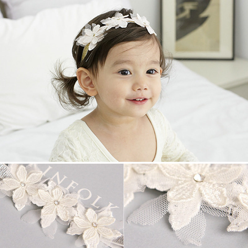 1PCS Children Baby Girls Lace Rhinestone Flower Headband Hair bands Kids Girls wedding Party Hair Accessories Princess   Headwear
