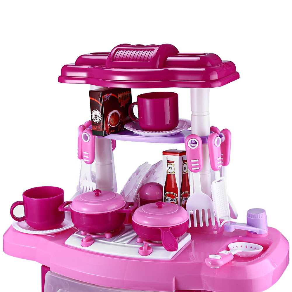 abd14758cbdc9 ... Kids Kitchen Toys Set Cooking Pretend Role Play Toy Set with Light  Sound Effect for Children ...