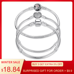 Luxury 100% 925 Sterling Silver Original 7 Styles Chain Bracelet Bangle for Women Fit DIY Charm Bead Authentic Fine Jewelry Gift