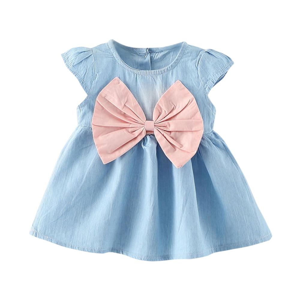 2018 Toddler Baby Girls dress lovely Bowknot Child Dress Solid Denim Clothes Dress Vestido Infantil