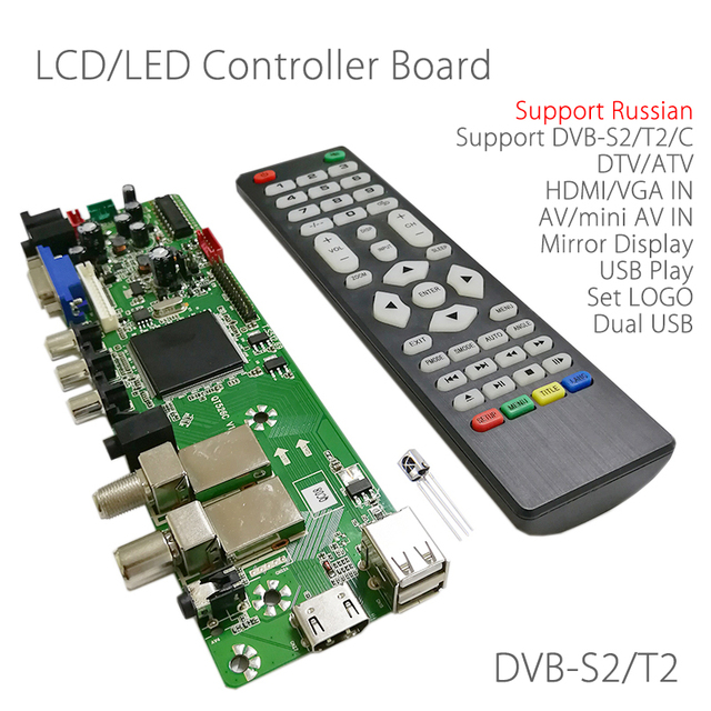 QT526C V1.1 Support Digital Signal DVB-S2 DVB-C DVB-T2 ATV Universal LCD Driver Board Dual usb play media Russian T.S512.69 gift