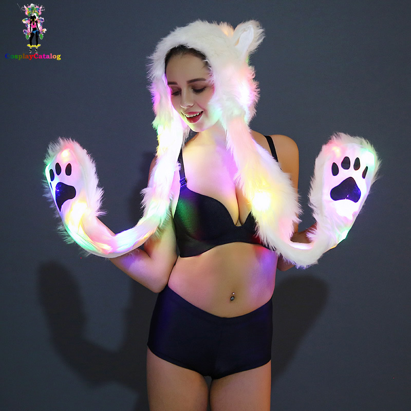 Halloween Cosplay Party Women/Man Bear LED luminescent Hat Christmas Faux Fur Fluffy Gloves/Scarves Carnival Animal Hats Costum